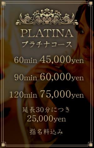 プラチナコース 60min 45,000yen,80min 50,000yen,100min 55,000yen